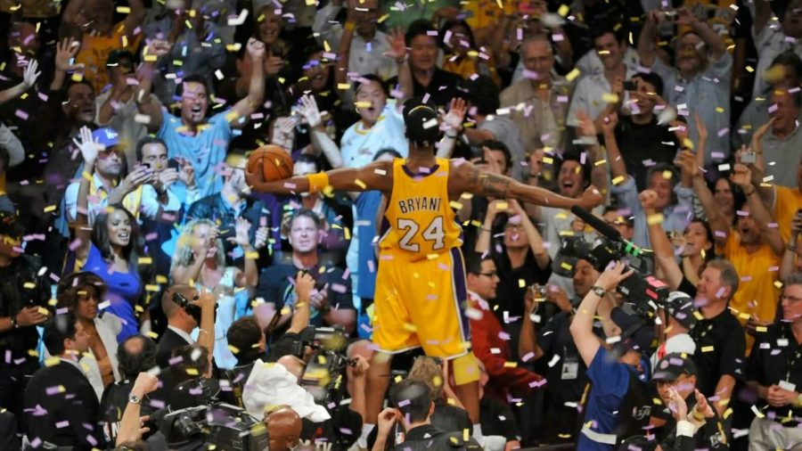 Kobe Bryant celebrating his fifth and final NBA championship.